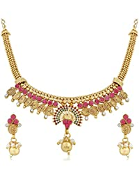 Trushi STYLISH PECOK DESIGNER GOLD PLATED MEENAKARI NECKLACE SET FOR WOMENS