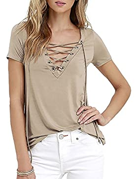 Exlura Camiseta Blusa para Mujer Casual con lazo Top Escote V