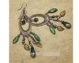 Glitz Fashion Vintage Antik Silber Bohemia Perlen Quaste Blume baumeln & Drop earrings- grün