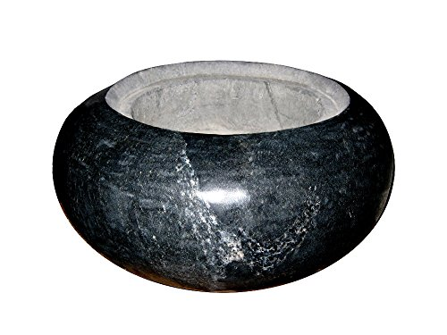 floristikvergleich.de Becken/ Schale aus schwarzem Granit – poliert als dekorative Schale oder als Brunnen/ Wasserspiel, echter Naturstein, handgearbeitet aus einem Stückl (Durchmesser 36cm)