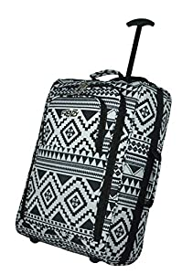 Frenzy/5Cities Lightweight Hand Luggage Bag - Approved Ryanair 2 Wheeled Cabin Baggage. 42L Travel Suitcase Holdall Includes Padlock! (Aztec Black/White + Flight Bag) Color: Black/Blue 612 Size: 50CM from 5 Cities