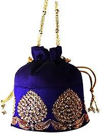 Sri Ganesh Bag House Ethnic Clutch Silk Potli Batwa Pouch Bag With Metal Beadwork Gift For Women