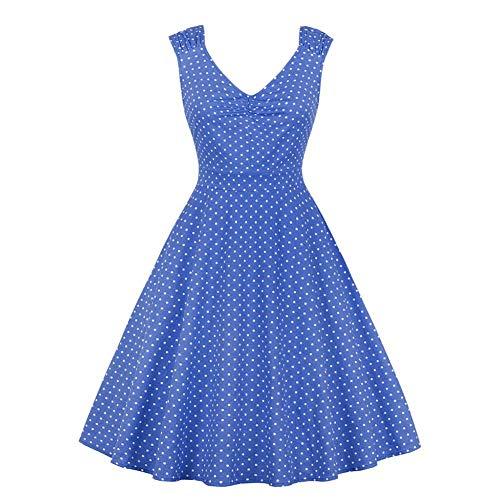 Kontrast Kragen Kleid Shirt (Swing-Kleid, Damen Vintage ärmelloses Kleid V-Ausschnitt Gerippter Kragen gedruckt Blätter Swing-Kleid(XL-Blau))