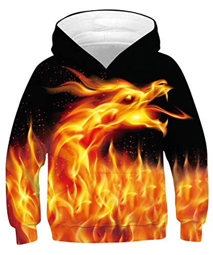 ALISISTER Felpe con Cappuccio Bambino 3D Cool Galassia Drago Design Felpa Sweatshirt...