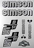 Aufkleber-Set Simson S51B Silber Seitendeckel Tank BJ-Handel