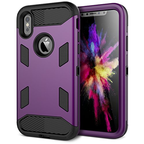 Coque iPhone X, WE LOVE CASE Coque Armor Heavy Duty de Protection en Hard PC Dur Coque iPhone X Anti Choc Bumper, 3 in 1 Antichoc Rigide Resistante Bumper Coque Apple iPhone X Noir violet