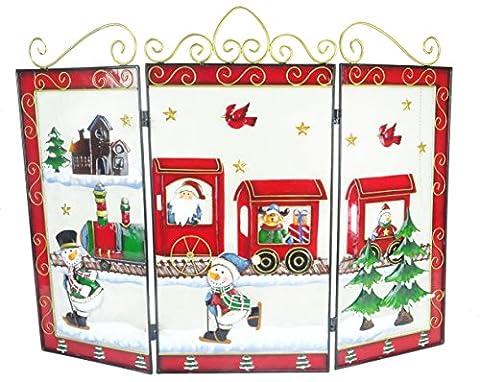 Christmas Concepts® 63cm Weihnachten Santa Metal Fire Screen - Weihnachtsdekoration