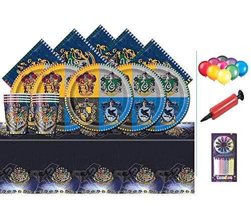 Harry Potter Party Pack Kinder Geburtstag Geschirr Kit für 16 - Teller, Tassen, Servietten, Tischdecke und kostenlose Baloons
