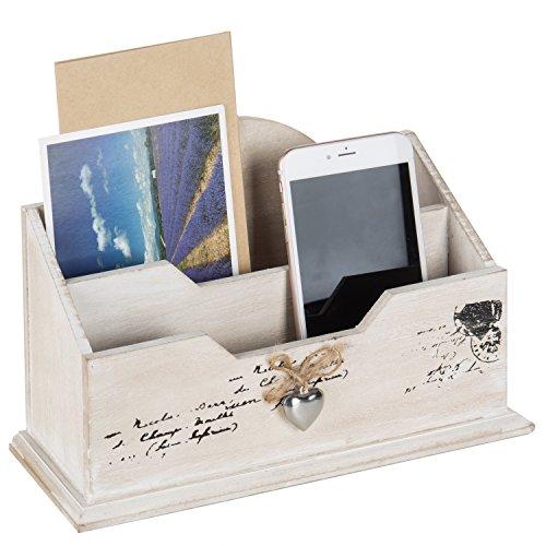 MyGift blanco de madera organizador de correo