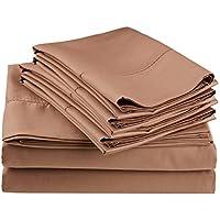 Impressions Superior - Juego de sábanas 96 x 190 cm, con fundas de almohada extra, con vainica, mezcla de algodón de 600 hilos, color marrón topo