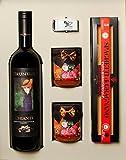 Gourmet Geschenk aus Italien: Spaghetti mit Bolognese Soße e und eine Flasche von Italienischem Rotwein Chianti