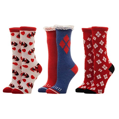 DC Comics Harley Quinn 3 Pack Crew Socken