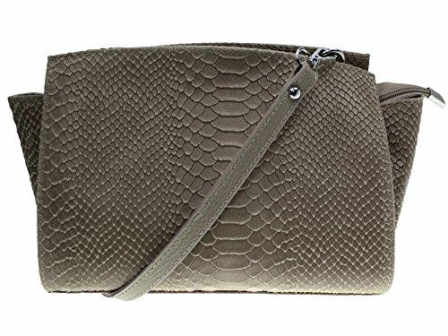 """bag2basics Damen Crossbody """"Arizona"""" in diversen Farben   Echtes Leder   Umhaengetasche Kroko- und Schlangenmuster (B33xH18xT13) Taupe snake"""