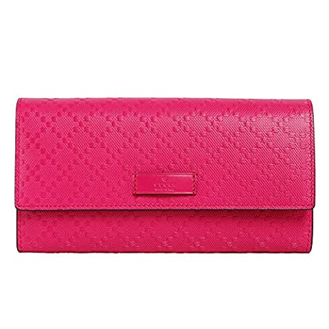 Gucci Bright Pink Diamante Leather Continental Flap Wallet 354486