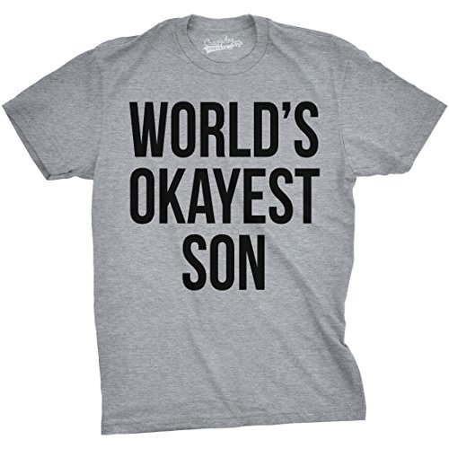 Crazy Dog Tshirts Mens Worlds Okayest Son Tshirt Funny Sarcastic Tee For Birthday  Boy -M