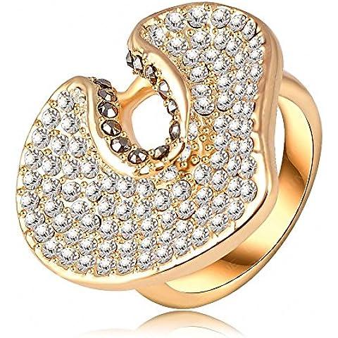 Bling alla moda, a forma di cuore placcati in oro 18 k, con pavé di cristalli di Boemia a forma di cuore, con anelli di fidanzamento