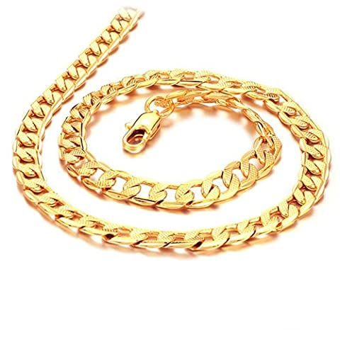 Father's Day Gift 7mm Width Cool Yellow 18k Gold Plated Chain Men's Necklace 19.7