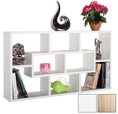RICOO Eckregal Wandregal Wandregale Weiss WM050-W Schwebendes Schmales Hängeregal Würfel Regal Ablage Schweberegal Bücherregal Wandboard Standregal Organizer Lowboard Möbel Halterung Mini Rack Holz (Antik Bücherschrank)