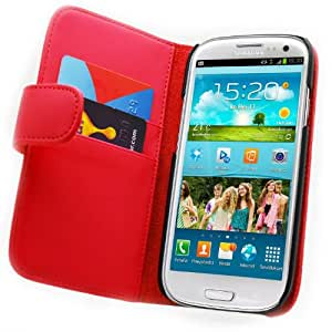 Galaxy S3 Case - Leather Wallet Flip Cover for Samsung Galaxy S3, Red