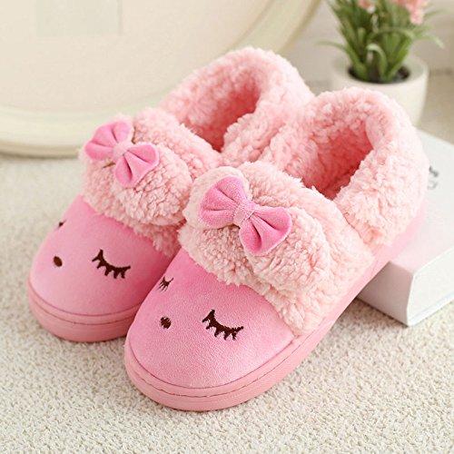 DogHaccd pantofole,Il cotone pantofole da femmina a maschio coppie inverno pacchetto di soggiorno nel gancio incantevole inverno caldo pantofole di peluche. Rosa3