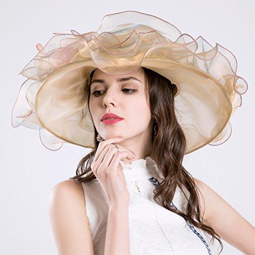 woman-kentucky-derby-sun-hat-flower-wide-edge-gauze-hat-headdress-orange
