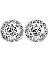 Aaishwarya Striking Platinum Plated White AAA Cubic Zirconia Round Stone Stud Earrings For Women & Girls