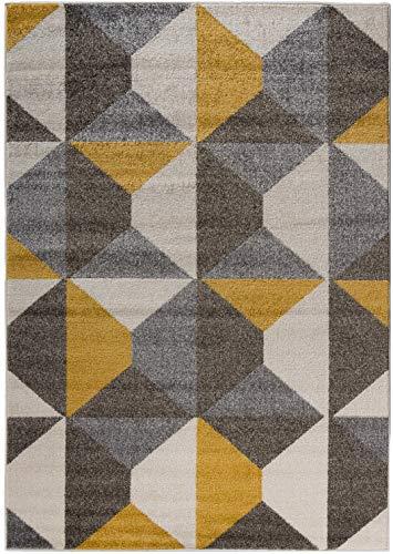 Carpetforyou Designer Moderner Kurzflor Teppich Desert Stones bunt grau gelb dreieck in 4 Größen für Wohnzimmer Schlafzimmer Jugendzimmer Kinderzimmer (80 x 150 cm) -
