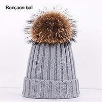 BLACK ELL Sombreros de algodón de Punto para Mujer de otoño e Invierno cálidos y cómodos, Sueltos, Gruesos m, 2