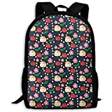 Grande zaino Zaino regolabile Bagpack Porcellini d'India e mele,zainetto resistente all'acqua per lo studente College Bookbag,laptop Dayback per viaggi/affari,adatto per notebook