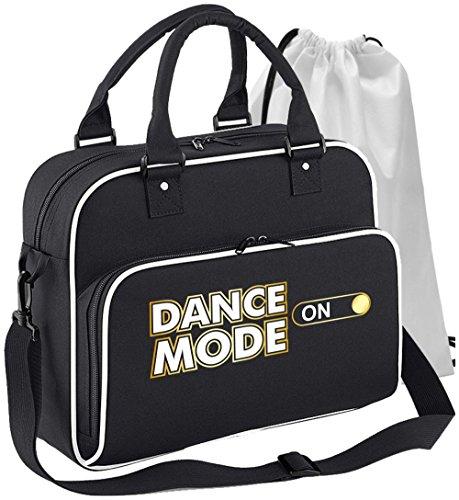 MusicaliTee Ballet Dancer - Dance Mode On - SCHWARZ + Weißes White - Tanztasche & Schuh Tasche Dance Shoe Bags