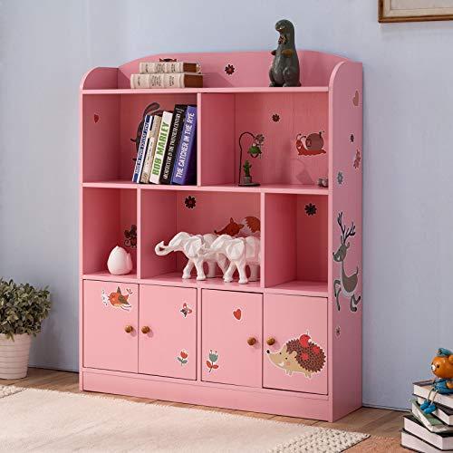 Emall Life Kinder-Bücherregal und Aufbewahrung, Kinder-Bücherregal, für Bücher, Spielzeug, Organizer für Jungen und Mädchen 98 * 24 * 119.5cm (Rose)
