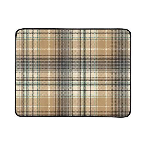 WYYWCY Schöne braune Gitter Muster tragbare und Faltbare Deckenmatte 60x78 Zoll handliche Matte für Camping Picknick Strand Indoor Outdoor Reise Diagonale Checker
