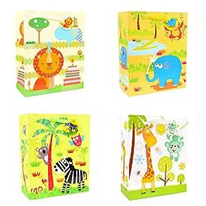 Gifts 4 All Occasions Limited SHATCHI-601 - Juego de 4 bolsas de regalo para niños, diseño con texto en inglés, multicolor