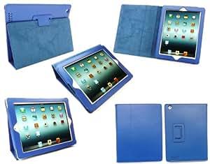 Emartbuy Neue iPad 3 & Apple iPad 2 Textured PU-Leder Multifunktions-/ Multi Angle Wallet / Cover / Stand / Typing-Gehäuse mit magnetischen Schlaf Wake Sensor Blau (alle Versionen Wi-Fi und Wi-Fi + 3G/4G - 16GB 32GB 64GB)