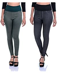 Timbre Skinny Fit Denim Printed High Waist Strachable Lycra Jeggings Combo Pack Of 2