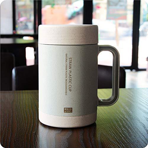 ZJWZ Commode 100 Paille de blé de Parfum Tasse Simple Double céramique Doublure Bureau à Domicile poignée de thé santé Tasse 350 ML,Blue
