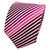 TigerTie Seidenkrawatte magenta fuchsia rosa pink weiß gestreift - Krawatte Seide