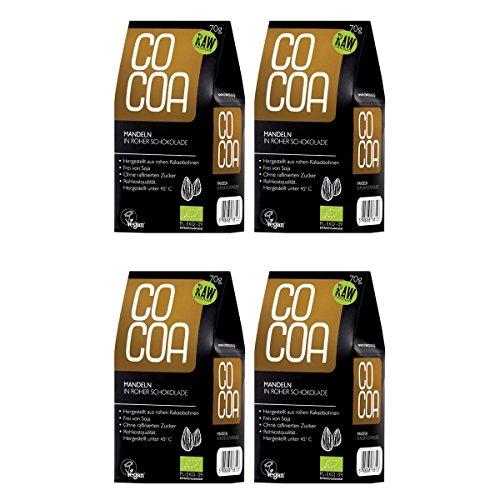 Raw Cocoa Bio Schokonüsse Mandeln in Roher Schokolade, 4 x 70 g | Hergestellt aus Rohen Ungerösteten Kakaobohnen bei unter 45 °C | Sorgfältig mehr als 60 Stunden Conchiert | mit Kokosblütenzucker Gesüßt | Vegan, Glutenfrei, Laktosefrei, Roh
