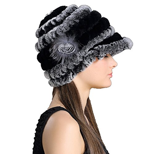 Befur Russian Knit Real Fur Visor Hat in Multicolor
