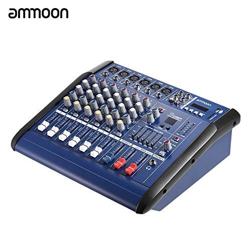ammoon 6Kanal Digital Mic Linie Audio Mixer Konsole Netzteil Verstärker Mischbatterie mit 48V Phantom Power USB/Slot SD für die Registrierung DJ Bühne Karaoke