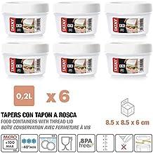 TATAY 1160701 Lote de 6 Tapers de Plástico de Alta Calidad de 0.2 L. con Tapa de Rosca, color Blanco