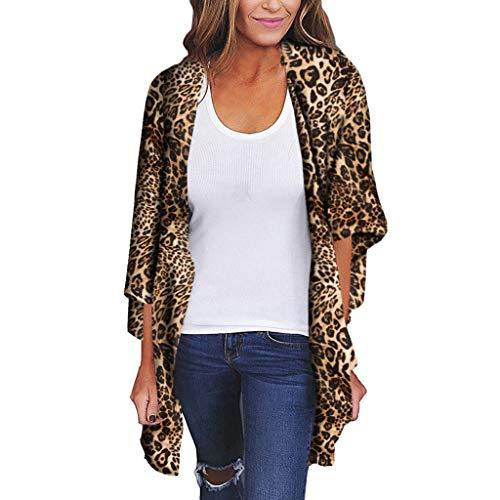 Leopard-print-kimono (Malloom Frauen Chiffon Schal Leopard Print Kimono Cardigan Top Cover Up Bluse Beachwear)