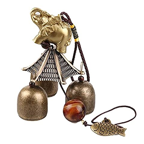 Chinese Elephant Fish Metal Bell Lucky Feng Shui Hanging Charm Wind Chime