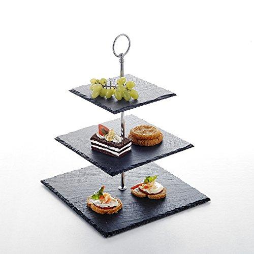 MALACASA Etagere, Serie Sweet.Time, Schieferplatte 3-stöckig Käseplatte Schiefer Cupcake Dessert Ständer Kuchenständer Servierständer Eckig