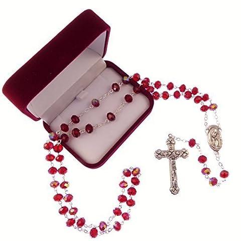 Lang leuchtendes rot schillerndes glas rosenkranz unsere liebe frau mitte Katholische in box