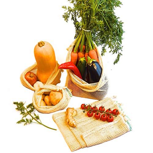 NatureShopper Stabile Obst- und Gemüsebeutel aus Bio-Baumwolle im 6er Set (3 Größen) mit Gewichtsangabe (Tara) - Obstnetz für den plastikfreien Einkauf - wiederverwendbar | waschbar