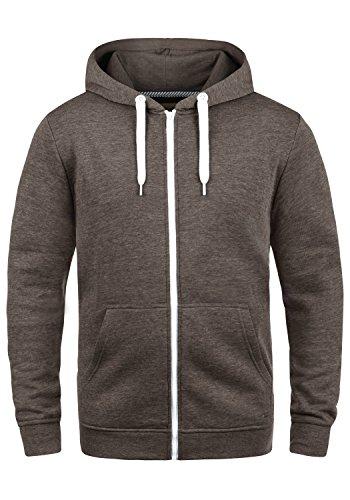 SOLID Olli Herren Sweatjacke Kapuzen-Jacke Zip-Hoodie aus hochwertiger Baumwollmischung, Größe:M, Farbe:Coffee Bean Melange (8973)
