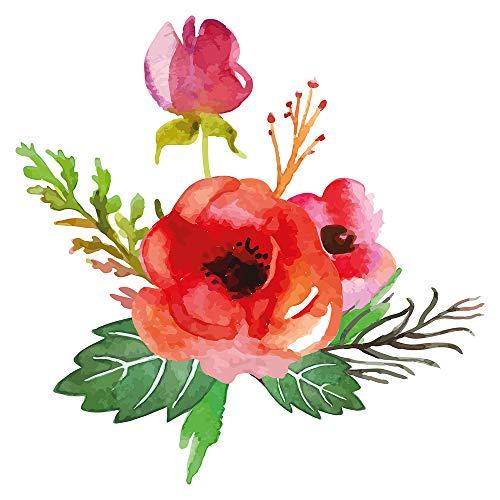 Wandtattoo Blumen Rote Mohnblume mit Gewächsen sommerlich Wandsticker Pflanze