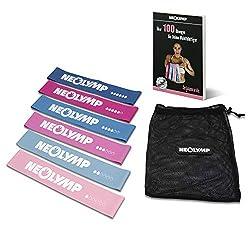 NEOLYMP 6 Premium Fitnessbänder + umfangreichem E-Book mit über 100 Übungen und ultimativen Motivationstipps für Fitness, Crossfit, Po-Training (Blau und Rot, 6er Set)