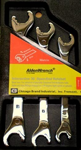 Alden Wrench 56039 Double Head Ratching Open-End Wrench 3 Piece Set Metric by Alden Wrenches